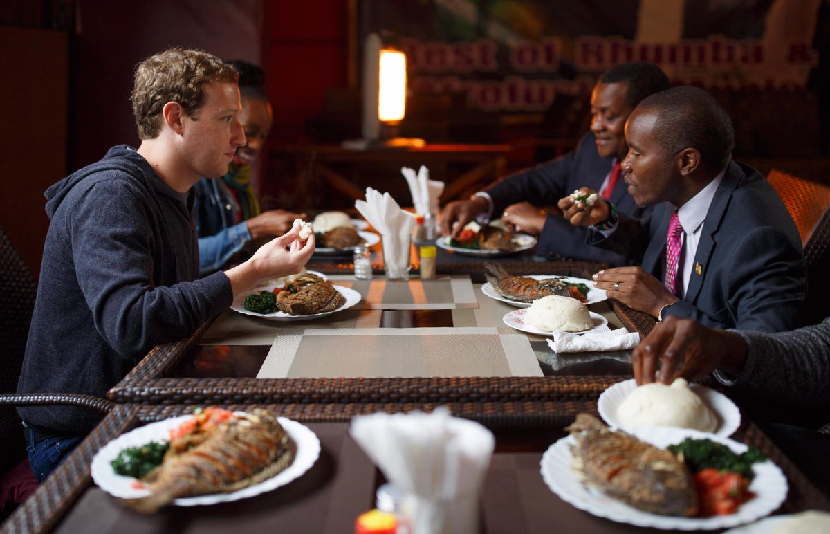 Mark Zuckerberg eats out at Mama Oliech Restaurant! https://t.co/aduluBLs7U https://t.co/cGAYn3c61V