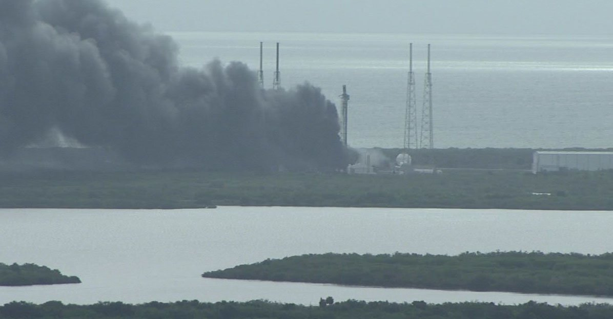 Explosion occurred at SpaceX's pad this morning, where a Falcon 9 rocket and Israeli satellite were being readied. https://t.co/joPQrDuC7f