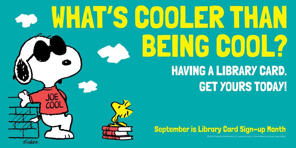 September is #LibraryCardSignUp Month. Visit your library and sign up for yours today! https://t.co/Lwy9jIvUIP