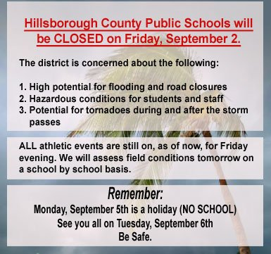 SCHOOL CLOSURES UPDATE: ALL HCPS schools and offices CLOSED TOMORROW, Friday, Sept. 2. #RT this graphic. https://t.co/NEEV2LWA1t