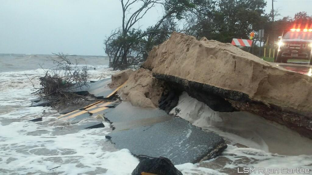 Storm surge from hurricane hermine causes road damage in ...