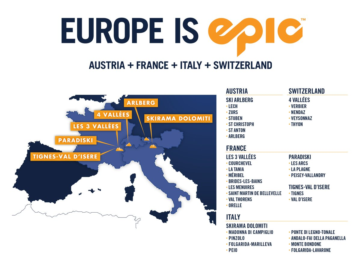 Austria, France, Italy, Switzerland are Epic! #EpicPass now includes the grandeur of Europe: https://t.co/soPcFKXTND https://t.co/Wgwri5Shwm