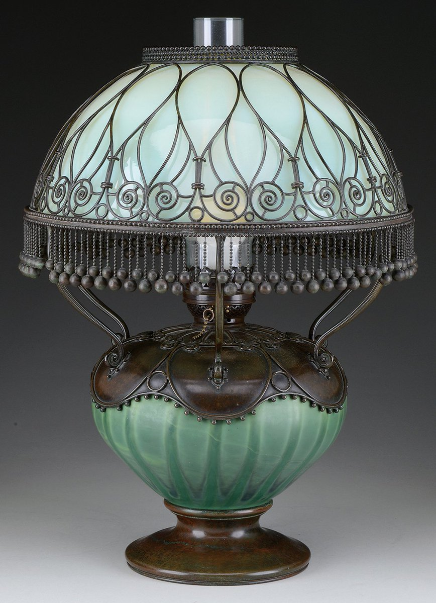 Tiffany Moorish lamp with green Favrile glass body, $14,220 https://t.co/aV2PXpuR72 #antiques #lighting #auction https://t.co/8V64895liC
