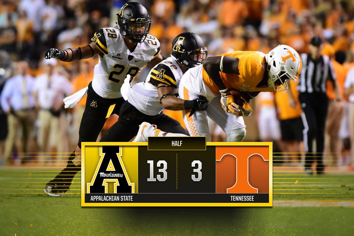 Breathe...  App State puts together a great first half and heads into the locker room with the lead. https://t.co/SMZqWoaWRs