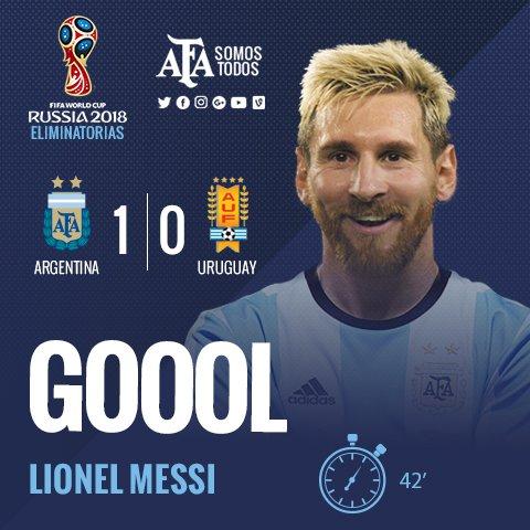 RT @Argentina: #Eliminatorias ¡Gooooool de #Messi! El mejor del mundo pone el 1-0 para Argentina. https://t.co/KGDTNN55ib