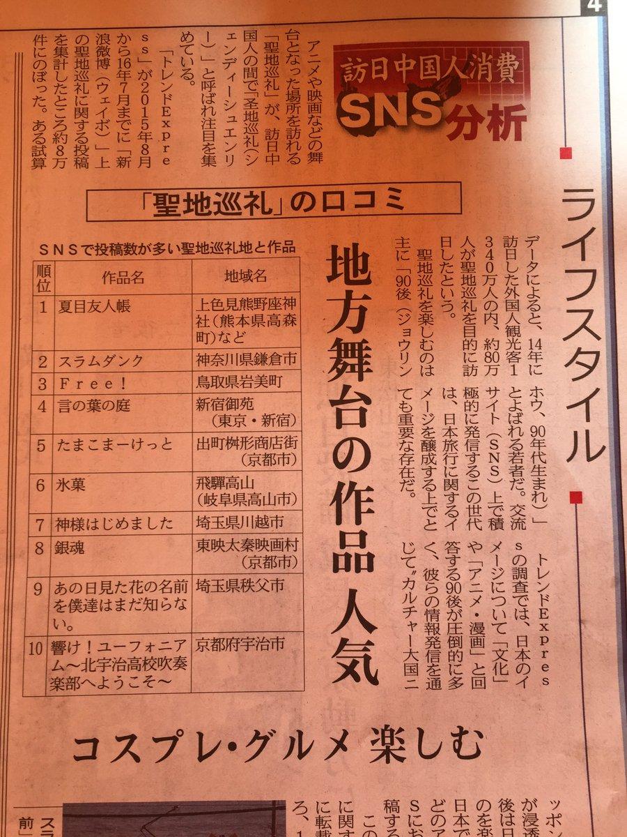 今日の日経MJで、訪日中国人さんのアニメ聖地巡礼について記事がでていますね。高山の「氷菓」は6位!同じ特急ひだで回れる「