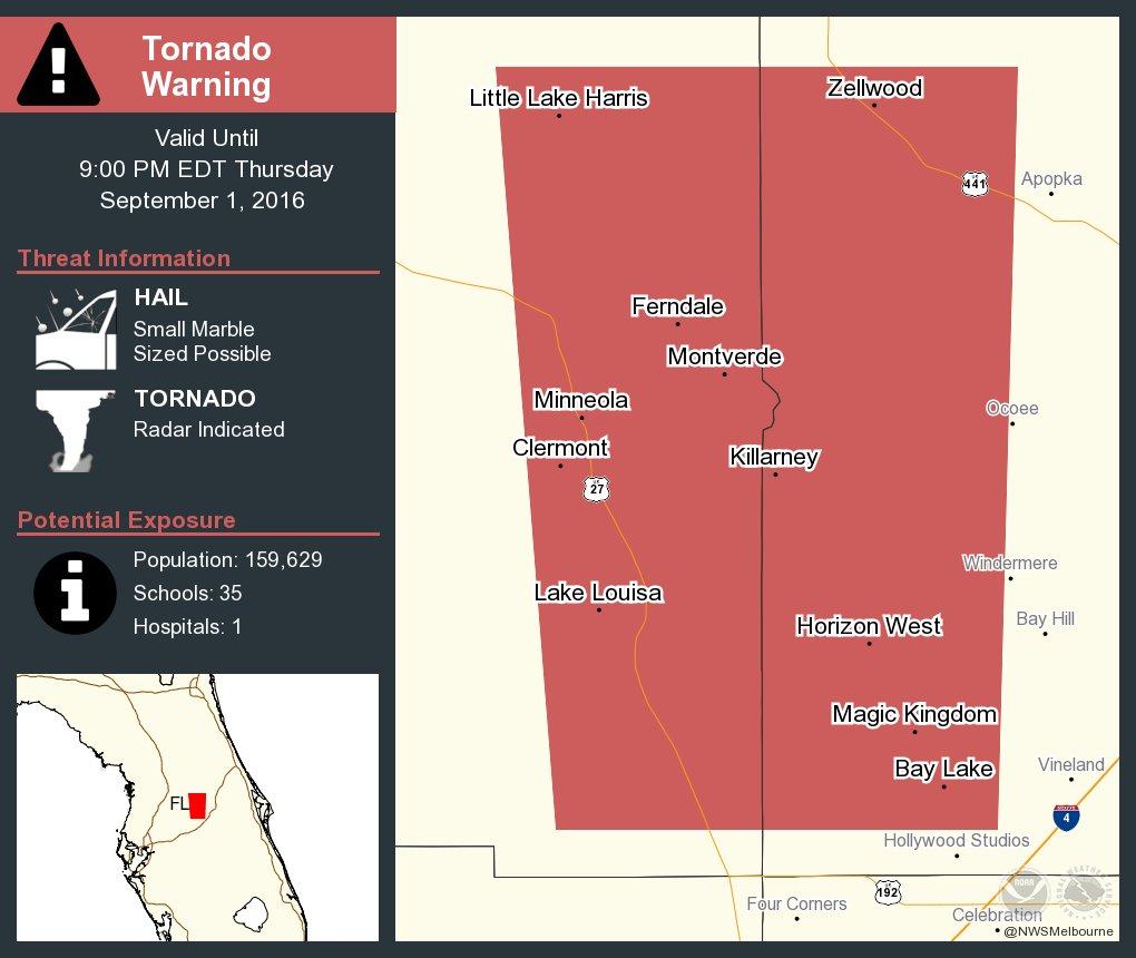 take cover tornado warning including winter garden fl