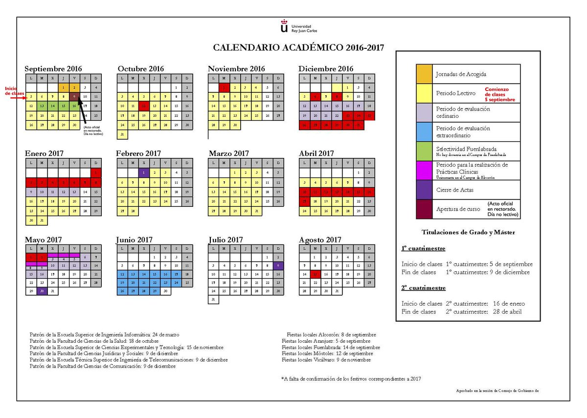 El día 9 de septiembre es el acto oficial de apertura de curso en Rectorado, no hay clase en ningún campus. https://t.co/J8teBtkbXN