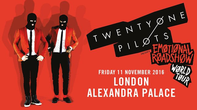 TWENTY ØNE PILØTS 11th Nov sold out! Second date now added 13th Nov, tickets on sale now... https://t.co/f4txQiACc2 https://t.co/eBiibte17D