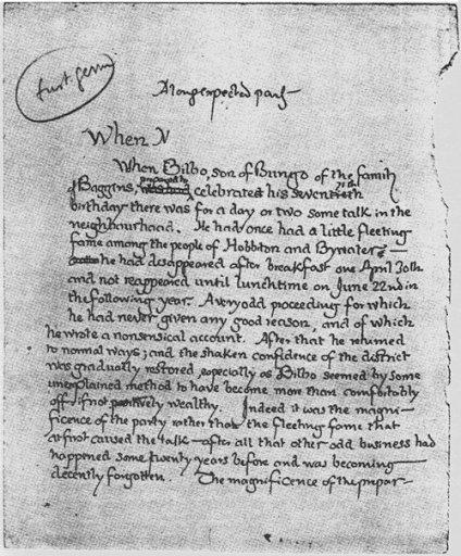 Tolkien'in el yazısıyla Yüzüklerin Efendisi'nin ilk sayfası, 1937 https://t.co/IXQfdheVZ2