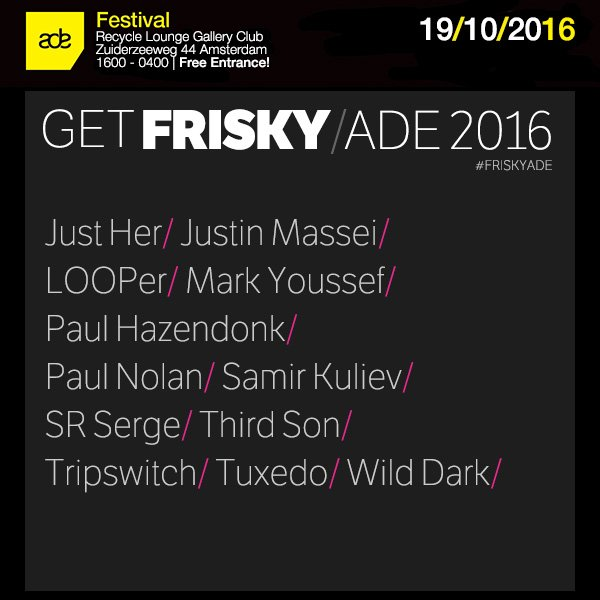 We're heading back to @ADE_NL with the freshest lineup of the conference! Come join us on Oct 19! #FRISKYADE https://t.co/QL3wbezXwh
