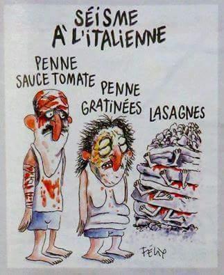"""Francamente, cada vez se hace más difícil """"Ser Charlie"""". Portada de Charlie Hebdo sobre los terremotos de Italia. https://t.co/SKK1M3nJ3O"""