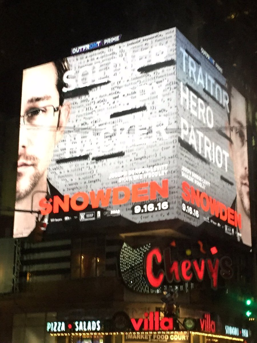 Got sent a photo of Snowden billboard in Times Square. And yes, I got excited. Anyone have a less blurry pic? https://t.co/NZjU8yv5J5