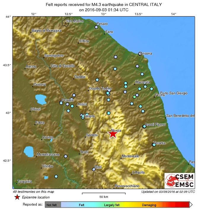 M43 earthquake terremoto strikes 46 km ne of terni italy 36