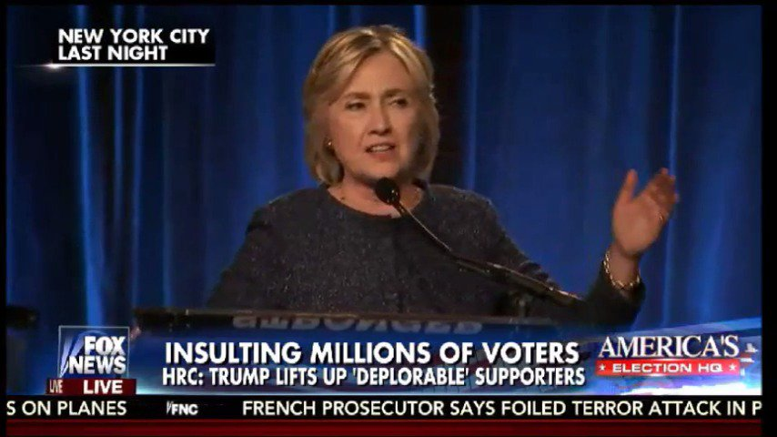 """The """"Basket of Deplorables"""" Hillary Clinton labels half of Trump's supporters as """"racists."""" Did Clinton go too far? https://t.co/wfiwNnYMAx"""