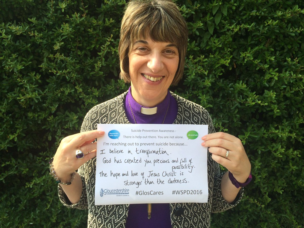 .@BishGloucester, Rachel Treweek, joins the campaign to help prevent suicide for #WSPD2016 #GlosCares https://t.co/nUmOxH1Fn5
