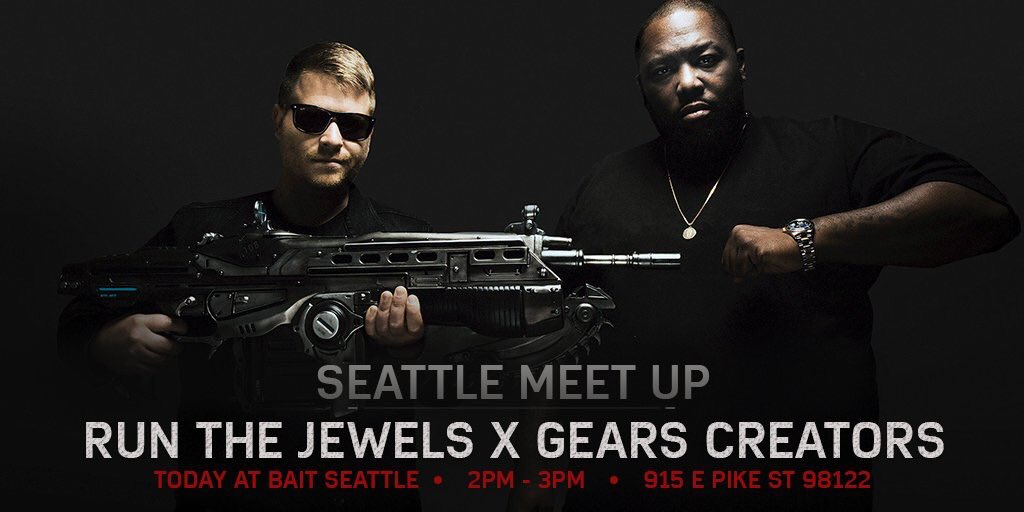 Pssst. Secret fan event in Seattle today. Come meet @runjewels @KillerMike @therealelp and @GearsViking @ BAIT 2pm. https://t.co/NKXzRNQy5y