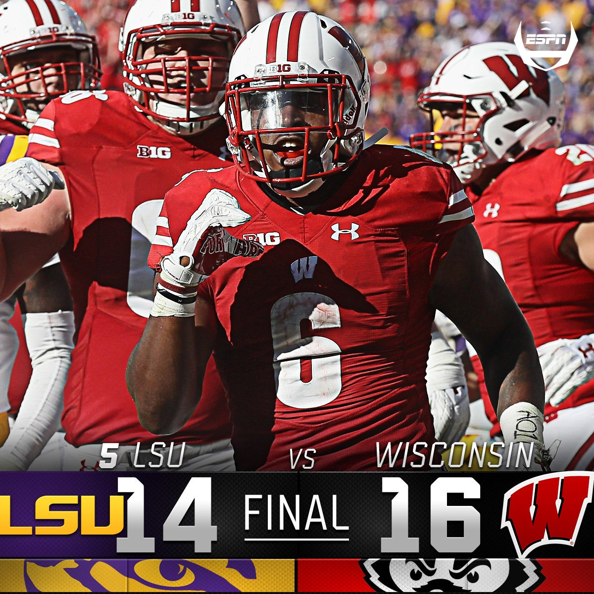 Wisconsin beats no. 5 lsu. the last time the badgers beat ...
