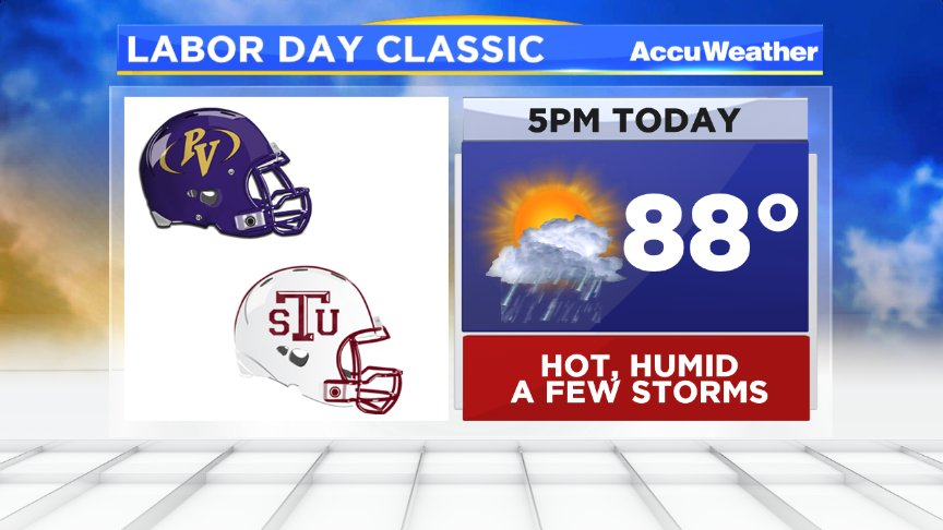 Here's your #LaborDayClassic forecast: hot, humid,a few storms still hanging around @PVAMU @TexasSouthern https://t.co/eqmELdF4yU