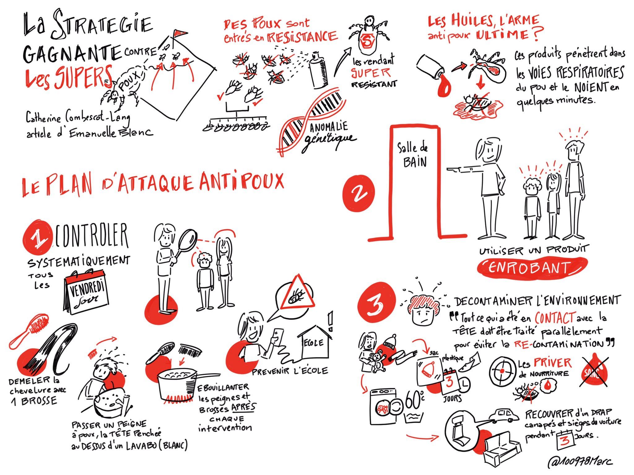 La stratégie gagnante contre les super poux en #sketchnote basé sur l'article de @Telepoche #todaysdoodle https://t.co/YQS0TMpWO8