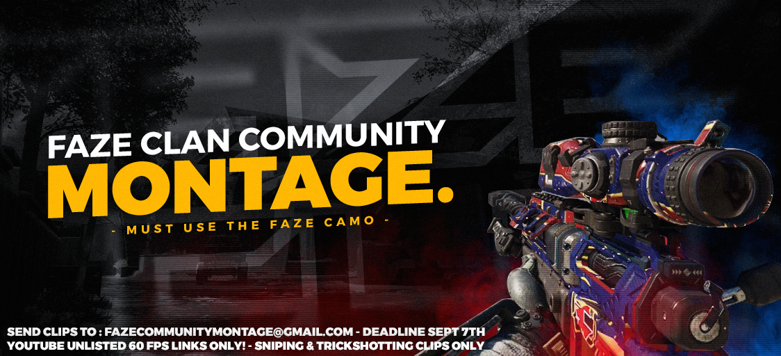 Hit a crazy clip with the FaZe camo yet? Send it our way to be in the FaZe Community Montage :) https://t.co/UAIih16r8I