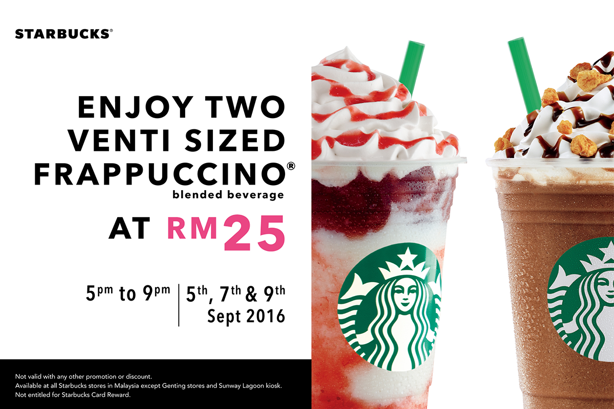 Let's celebrate a new week! On Mon, Wed and Fri, from 5pm - 9pm, enjoy TWO VENTI Frappuccino at only RM25! :) https://t.co/HUrb0nNWns