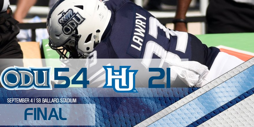 ODU wins 54-21 over the Hampton Pirates! Washington tied career high 4tds! #ODUSports #ODUFB https://t.co/SHs2LxFGm4