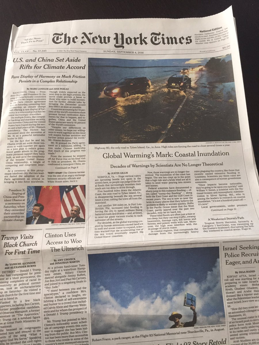 A sign of the times: Today's @nytimes front page (Sunday edition, above the fold) is 100% #climatechange stories. https://t.co/hkyKqO4tR0