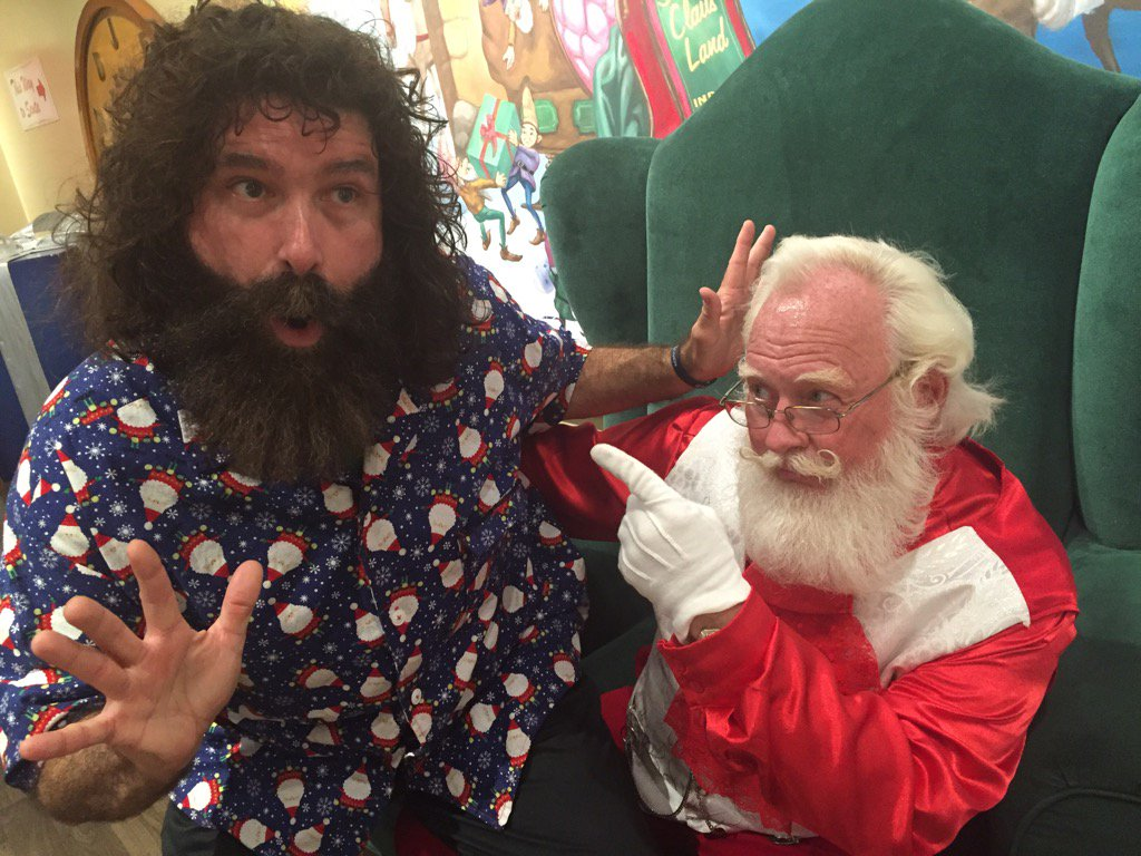 """Uh-oh! Santa had to set @RealMickFoley straight on that last """"wish"""" - seems there is NO Best of @TheRealAlSnow DVD! https://t.co/x5iQHZyY6L"""