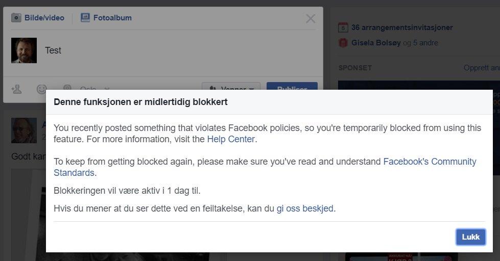 """#Facebook har blokkert meg - ironisk nok fordi jeg postet et innlegg der """"napalmjenta"""" Kim Phúc kritiserer Facebook. https://t.co/JuKFkOcTB8"""