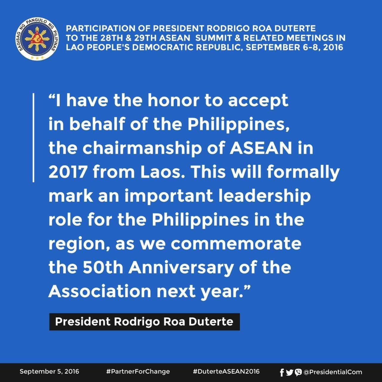 #PresidentDuterte will be accepting the chairmanship of ASEAN's 50th Anniversary. #DuterteASEAN2016 https://t.co/SiAXrsvJp0