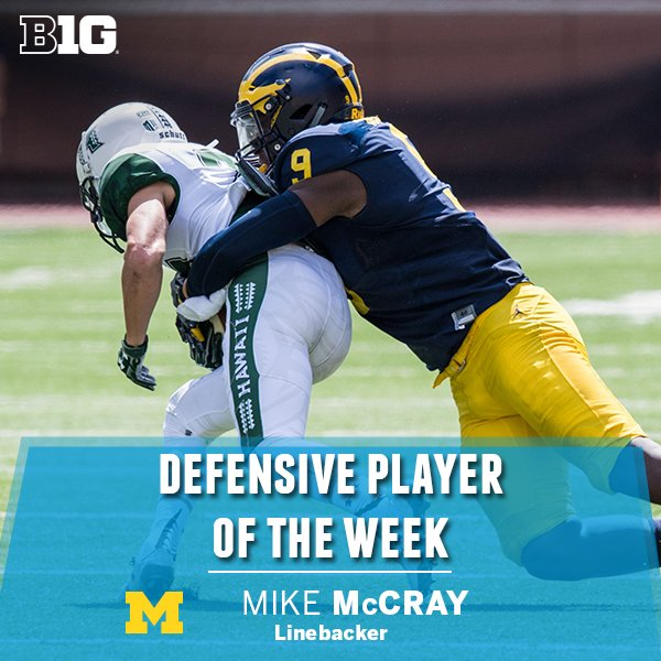 The #B1G Defensive Player of the Week is @UMichFootball LB Mike McCray, who had 3.5 TFL & 1 FF against Hawaii https://t.co/JBq8gz9lOZ