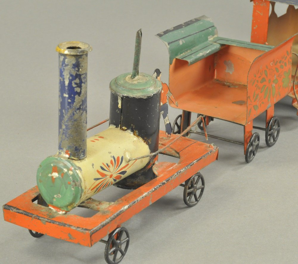 Tinplate train set, Francis, Field & Francis, early 1870s, engine, tender, & 2 coaches, $64,900 #antiques #toys https://t.co/l6TuAZhMl0