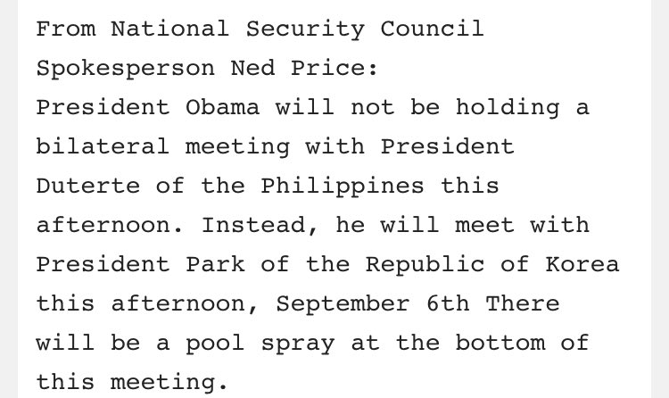 Just In: @POTUS cancels mtg w Philippines Pres Duterte after leader called him 'son of a whore.' Per @carolelee rpt. https://t.co/02COoyRc2v