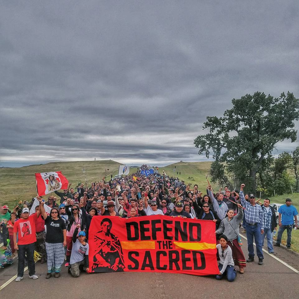 """500 Water Protectors marched to where Dakota Access pipeline bulldozed thru sacred site"" - Dallas Goldtooth #NoDAPL https://t.co/awmA0Keaiu"