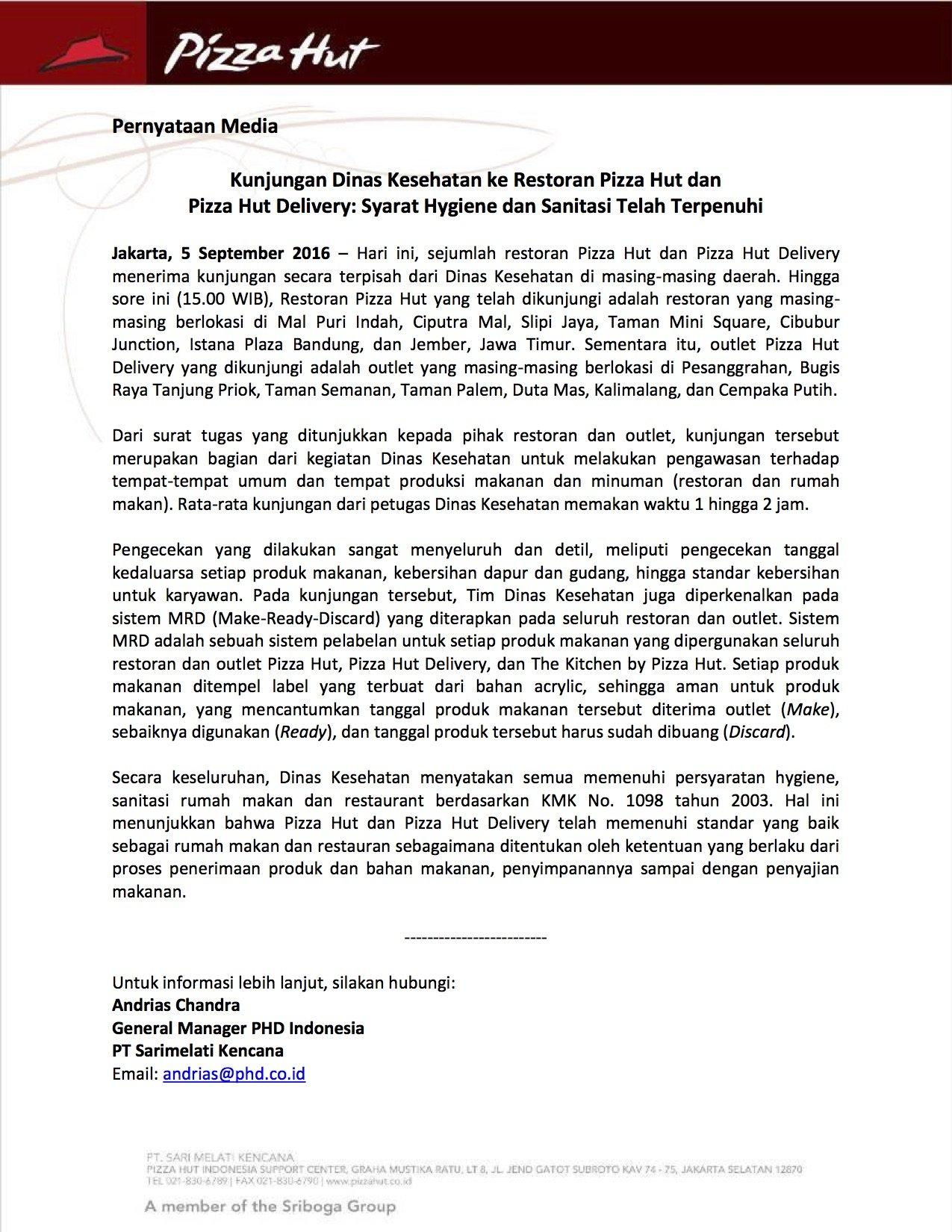 Dinas Kesehatan mengunjungi gerai Pizza Hut & PHD, mrk menyatakan syarat hygiene telah terpenuhi #UngkapDenganFakta https://t.co/TYAIikftIB