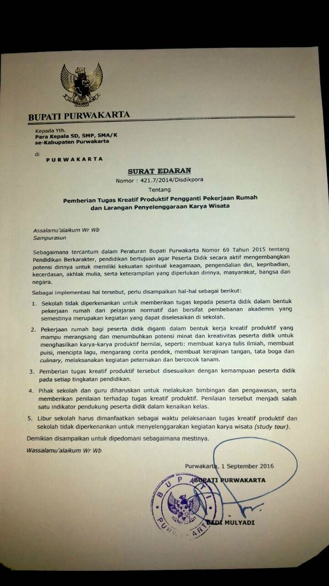 Surat Edaran @DediMulyadi71 ini keren! Langkah kecil yg bisa berdampak besar https://t.co/RCHXcPvbyT