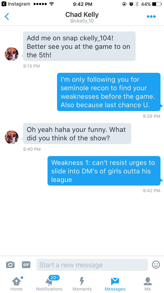 Shoulda spent more time in your playbook and less time in my DM's #NOLES GJcFTHwmTh