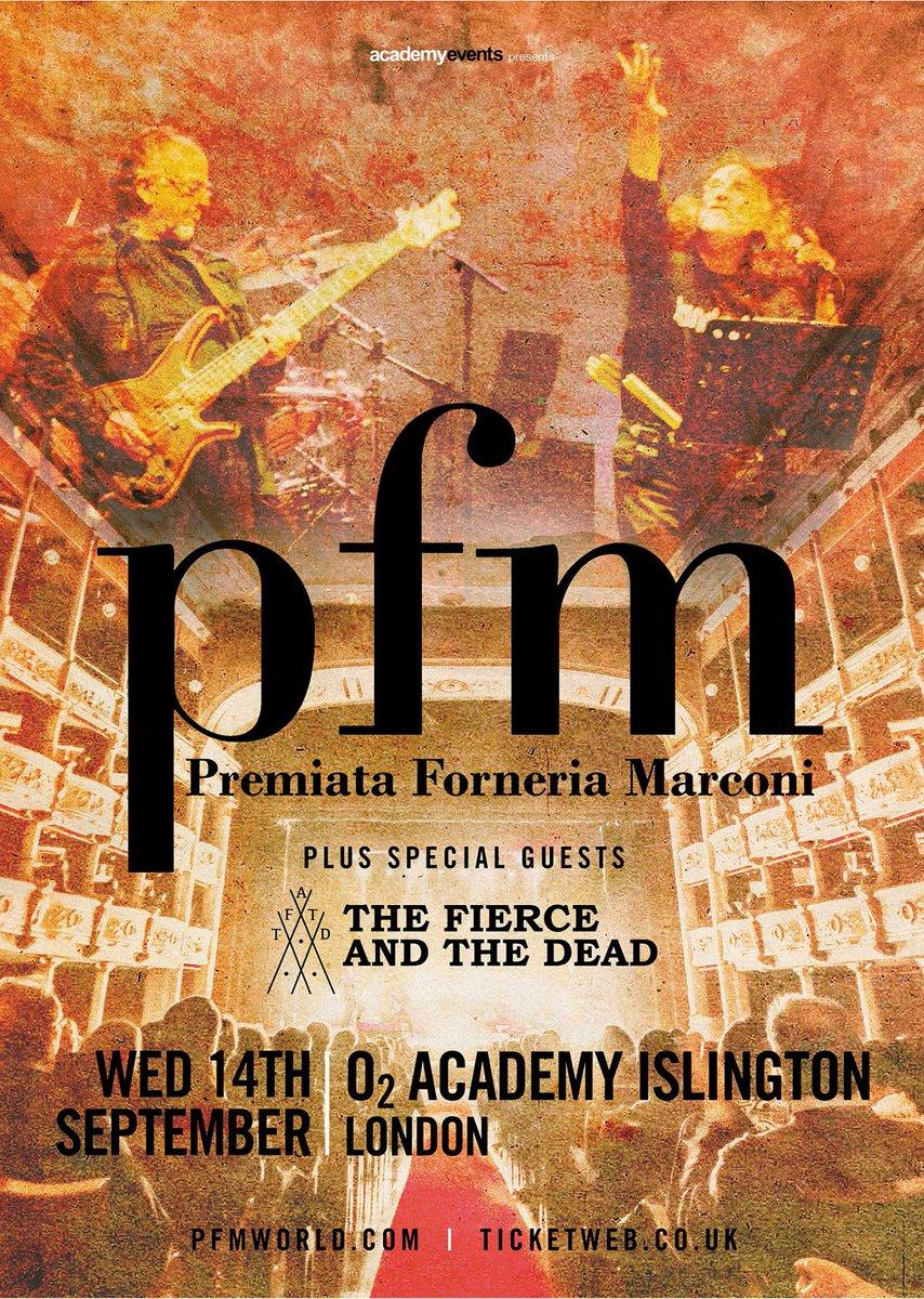 The Fierce And The Dead will be supporting Italian progressive music legends PFM in London - https://t.co/xI9jVEDLks https://t.co/rW2e1U6DIQ