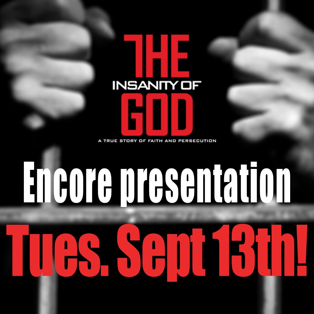 We're so happy to bring it back to theaters! Tix and theater locations at https://t.co/TWMypN2AjZ #insanityofgod https://t.co/wtd9NOSYSs