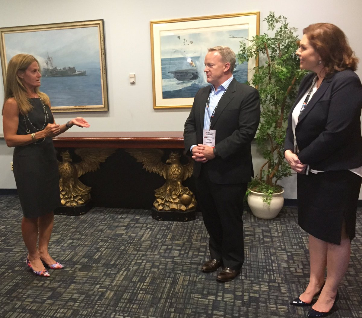 It's official. coin toss with @seanspicer, @kristina_schake determines @realDonaldTrump will go 2nd #NBCNewsForum https://t.co/R5Lip1MaBQ