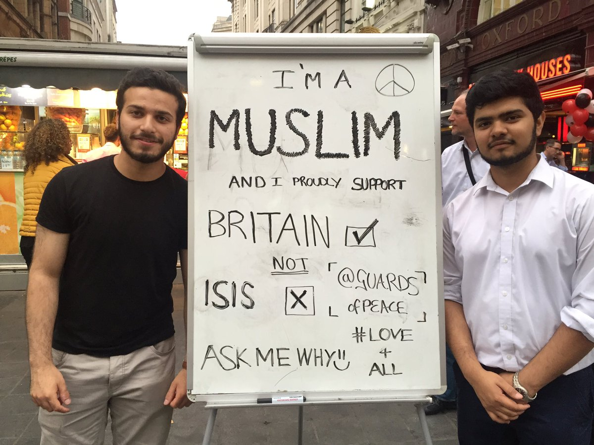Mustafa and Imran are at Oxford Circus. I'm sad they feel they have to do this @GUARDSofPEACE #love4All https://t.co/WNmCCZ5GUM