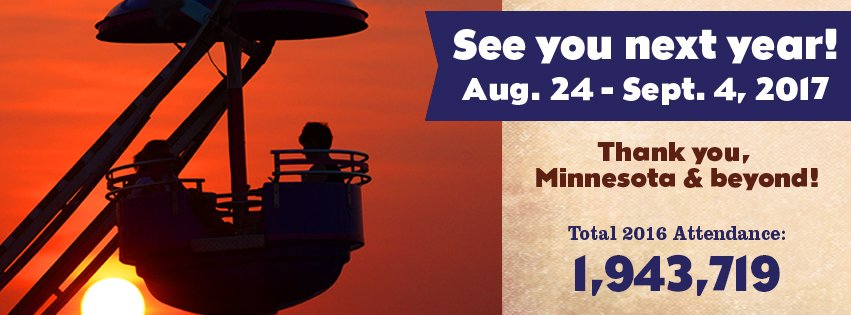 THANK YOU! Cumulative attendance for 2016 #mnstatefair was 1,943,719, making this fair the best-attended in history! https://t.co/R17kIMX9BN