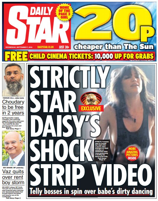 Daily star front page: 'strictly star daisy's shock strip ... Daily Star