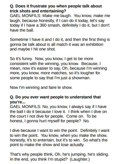 Gael Monfils gave some interesting answers when I (tried to) ask him about the criticism for his showmanship. https://t.co/UdXL4C6ze9