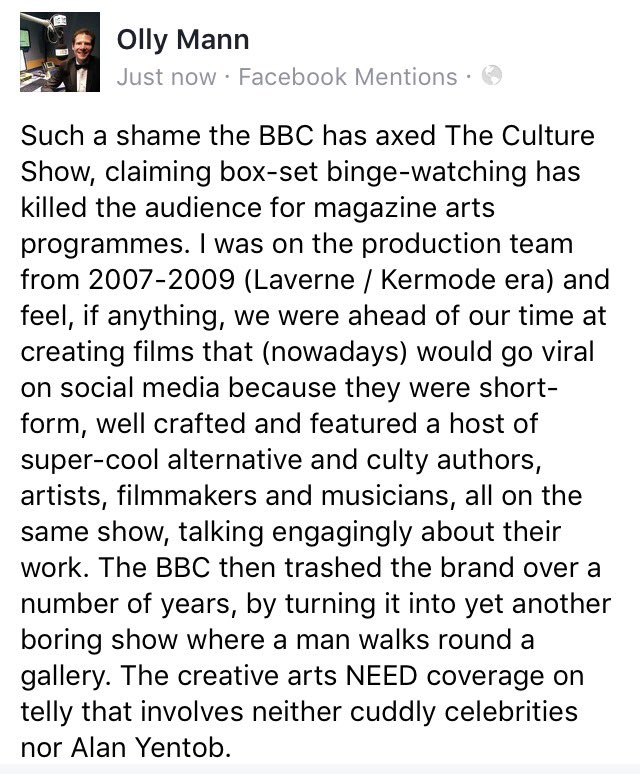 The BBC have quietly axed The Culture Show, which I worked on for a while. My thoughts: https://t.co/RHfpiBvN4N https://t.co/I6kCJFeCgn