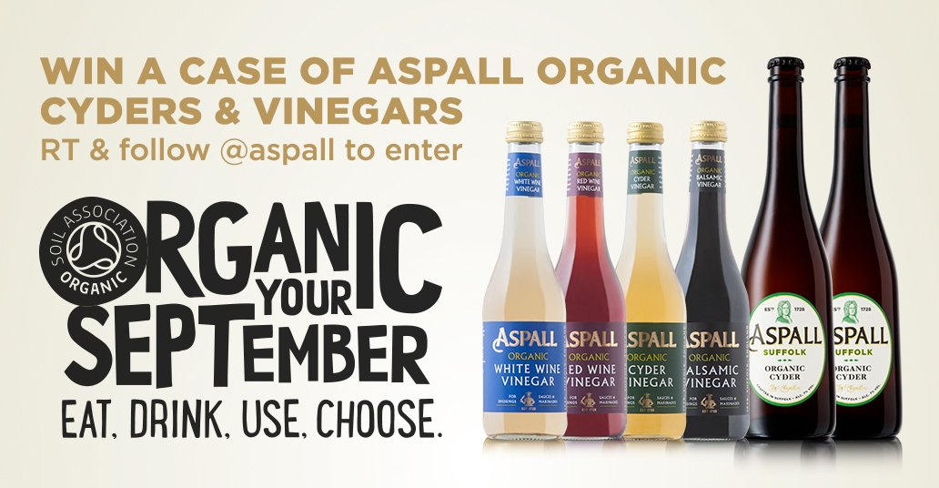 WIN all of our organic products to celebrate #OrganicSeptember RT and follow @Aspall to enter! Ends 21/9 https://t.co/FMxBb7Cqcb