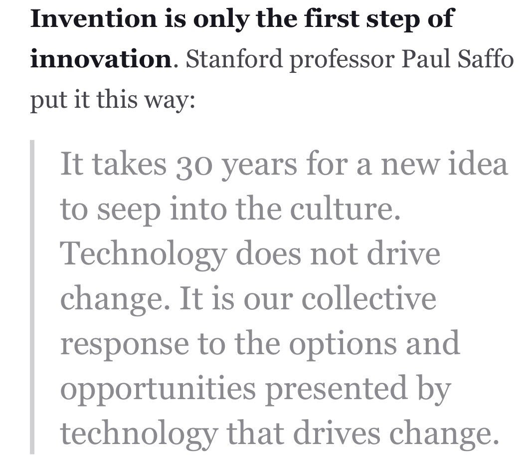Important to think about: Lag bet discovery/invention & gen acceptance isn't ltd to medicine https://t.co/XeP14dKcbN https://t.co/RomRNMRg3b