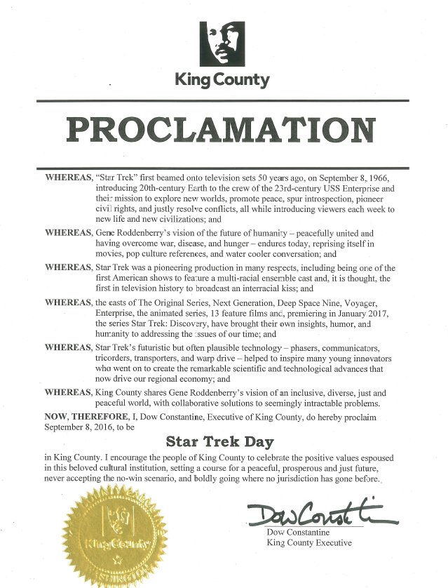 To celebrate #StarTrek50, I proclaim Sept. 8 Star Trek Day in King County. Engage, @GeorgeTakei #StarTrek https://t.co/x2pwZEuzSU
