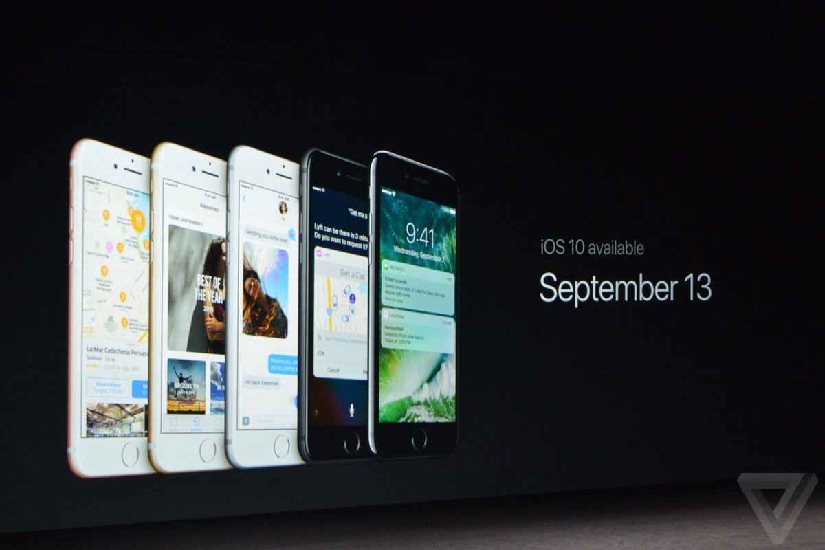 iOS 10 will be realized on September 13 #AppleEvent https://t.co/yh5gMsqiz9